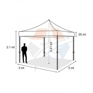 POP UP Marquee with White PVC Roof 3M X 3M Hire