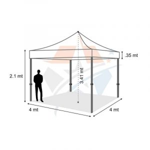 POP UP Marquee with White PVC Roof 4m x 4m