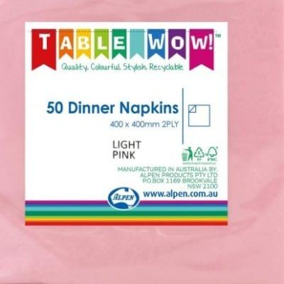 Paper Dinner Napkin Light Pink (50 Pack)