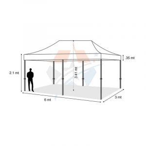 POP UP Marquee with White PVC Roof 6M X 3M Hire