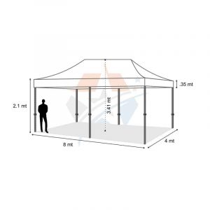 POP UP Marquee with White PVC Roof 8M X 4M Hire