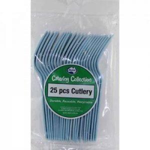 Plastic Forks Light Blue (25 Pack)